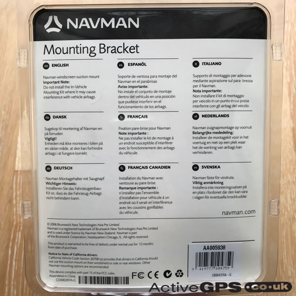 Navman N40i Windscreen Suction Cup Mounting Bracket