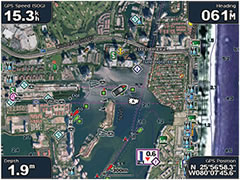 High resolution imagery with navigational charts overlaid.