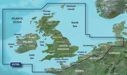 Coverage of Garmin BlueChart g2 HD UK and Ireland chart